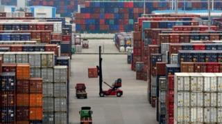Containers at the Yangshan Deep Water Port in Shanghai