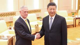 Chinese President Xi Jinping (R) meets with United States Secretary of Defense James Mattis at the Great Hall of the People on June 27, 2018 in Beijing, China.