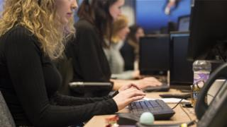 Female workers at computers