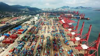 Containers at a port in China