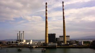 Poolbeg Generating Station in Dublin, Ireland, 10 June 2013