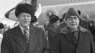 US President Gerald Ford and Soviet leader Leonid Brezhnev seen during the welcome ceremony at Vladivostok airport.