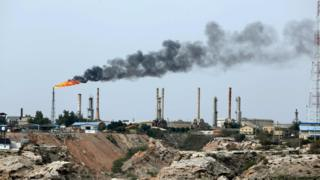This file photo taken on March 12, 2017 shows an oil facility in the Khark Island, on the shore of the Gulf