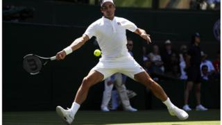 Federer during his match