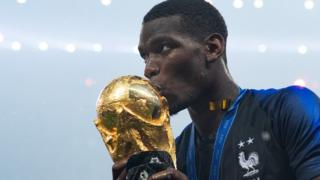 Paul Pogba of France celebrates with the World Cup Trophy following his sides victory in the 2018 Fifa World Cup Final between France and Croatia at Luzhniki Stadium on 15 July 2018 in Moscow, Russia