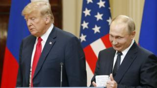 Donald Trump and Vladimir Putin at Helsinki summit. 16 July 2018