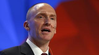 Carter Page delivers a speech on the topic