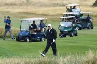 Donald Trump on Aisla golf course at Turnberry