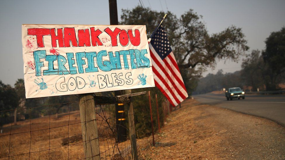 Thank you firefighters sign