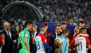 Fifa president Gianni Infantino, President of Russia Vladimir Putin, French President Emmanuel Macron and Croatian President Kolinda Grabar-Kitarovic are seen following the 2018 FIFA World Cup Final between France and Croatia, 15 July 2018