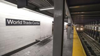 A train arrives at the new WTC Cortlandt station