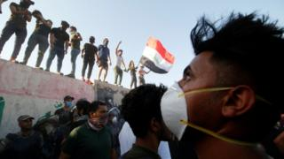 Protesters at a government building in Basra