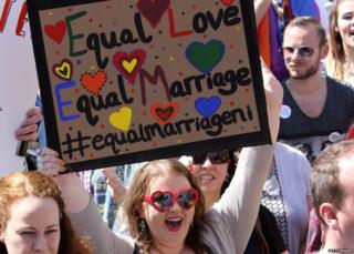 A sign from a pro-gay marriage march in Belfast saying: