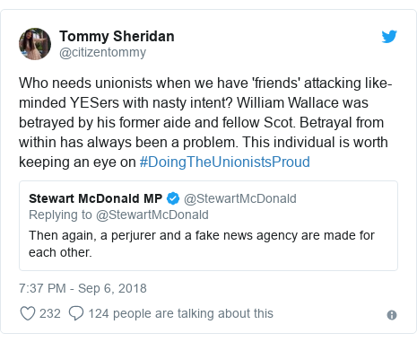 Twitter post by @citizentommy: Who needs unionists when we have 'friends' attacking like-minded YESers with nasty intent? William Wallace was betrayed by his former aide and fellow Scot. Betrayal from within has always been a problem. This individual is worth keeping an eye on #DoingTheUnionistsProud