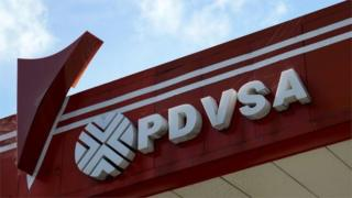 The logo of Venezuelan state-owned oil company PDVSA at a gas station in Caracas.