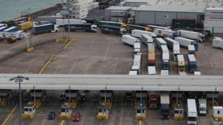 Container lorries coming off ferries at Dover
