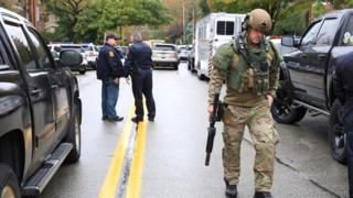First responders at the scene of a shooting at a Pittsburgh synagogue