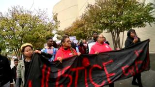 Protesters outside Riverchase Galleria in Hoover, Alabama
