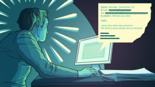 Cartoon of Tony the IT admin receiving an email from a hacker
