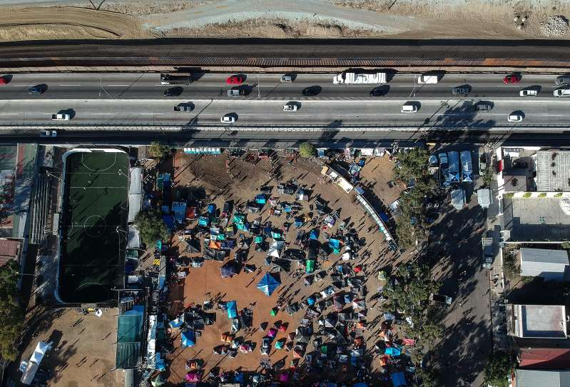 An aerial view of shelters in Tijuana, Mexico, where Central American migrants are waiting to ask for political asylum in the United States.