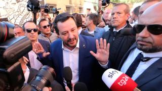 Italian Interior Minister Matteo Salvini speaks to reporters in Rome on 24 October 2018