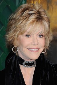 Jane Fonda adds height and volume to her short hair with plenty of flicked-out layers and texture at the root.