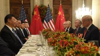 US President Donald Trump, US Secretary of the Treasury Steven Mnuchin and members of their delegation hold a dinner meeting with China's President Xi Jinping and Chinese government representatives, at the end of the G20 Leaders' Summit in Buenos Aires, on December 01, 2018. -
