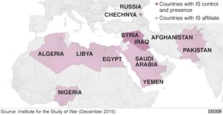 Map showing global reach of IS affiliates