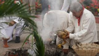 A Mayan ceremony to launch the Tren Maya project in Palengue, Mexico. Photo: 16 December 2018