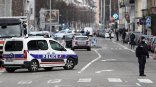 Police conduct a counter-terrorism operation in the Neudorf neighbourhood in Strasbourg, France, 13 December 2018.
