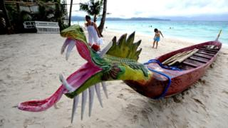 A dragon boat on Boracay island in the Philippines