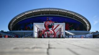 Football stadium showing Coca-Cola logo