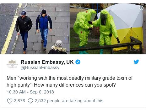 Twitter post by @RussianEmbassy: Men