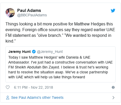 """Twitter post by @BBCPaulAdams: Things looking a bit more positive for Matthew Hedges this evening. Foreign office sources say they regard earlier UAE FM statement as """"olive branch."""" """"We wanted to respond in kind."""""""