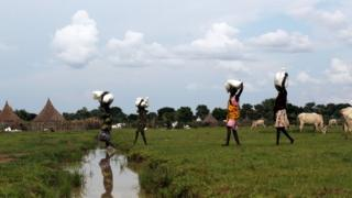 Displaced women carry food from a distribution centre near the town of Nyal - 29 October