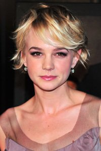 Try Carey Mulligan 's short layered blonde crop. Flattering for all face shapes