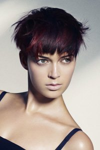 Red and black layered crop by Sassoon