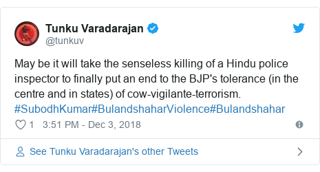 Arrests over India policeman killed via 'cow slaughter' mob
