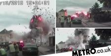 Dramatic footage of fatal gasoline explosion in suburban San Prairie street