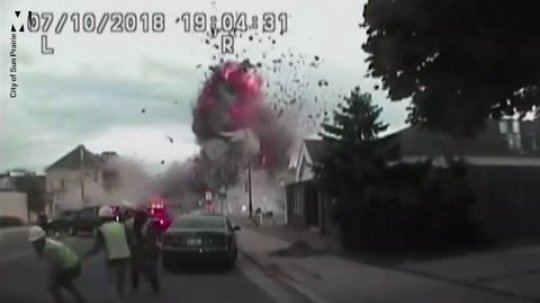 Dramatic footage of fatal gasoline explosion in suburban San Prairie street