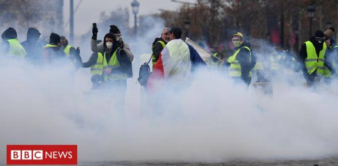 France gasoline protests: Tear fuel fired in clashes in Paris