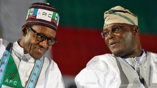 President Muhammadu Buhari and opposition leader Atiku Abubakar - archive shot, December 2014
