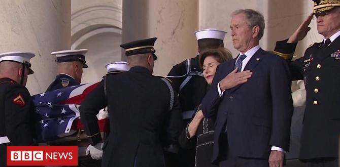 President Bush fights again tears as father's coffin passes